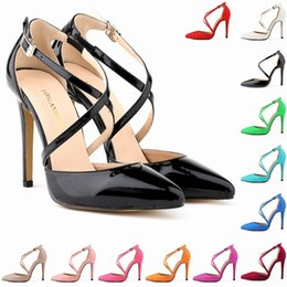 Wholesale Womens Sexy White Heels - Sapato Feminino Fashion Womens Stilettos High Heels Ankle Strap Sexy Sandals Summer Party Shoes US SIZE 4 5 6 7 8 9 10 11 D0089