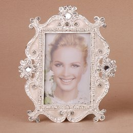Wholesale Small Children Picture - 3 Inch Vintage Hanging Photo Picture Frames for Child Baby Birthday Small Photo Frame Home Decor DIY Zinc Alloy Frame Crystall