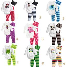 Wholesale Baby Cartoon Romper Suit - 3pcs suit Newborn Infant Baby Girl cartoon letter Romper+stripe dot Pants hat Outfits Set Clothes 9 style