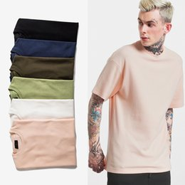 Wholesale Basic Black T Shirt - Men'sHigh Quality 6 Colour HipHop Solid-colored Casual T Shirts Waffle Fabric Streetwear Fashion Crew Neck Cotton Basic Essential T-Shirts