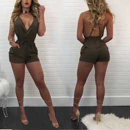 Wholesale Women Playsuit Dots - 2017 Fashion New Arrival Sexy Bodysuit Women Sleeveles Playsuit Backless Summer Bodycon Short Rompers Womens Jumpsuit Club Body Femme