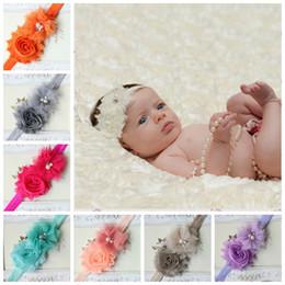 Wholesale hair band diamond pearls - infant pearl stretch headbands girl floral diamond headband headwear kids baby crystal hair bands 15 colors