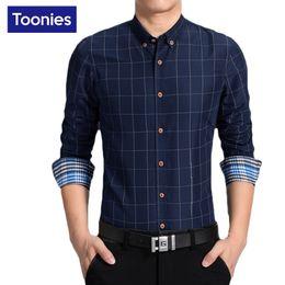 Wholesale Men High Fashion Dress Clothes - Wholesale- New Plaid Shirt Men Fashion Casual Long Sleeve Turn-Down Slim Fit Shirt Men High Quality Mens Dress Shirts Clothes Plus Size 6XL