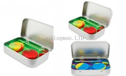 Wholesale Wholesale Tin Jars - Hot sale 4 in 1 Tin Silicone Storage Kit Set with 2pcs 5ml Silicon Wax Container Oil Jar Base Silver Dab Dabber Tool Metal Case