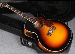 Wholesale Single Cutaway Guitar - factory in stock J200 single cut acoustic electric guitar sunburst electric acoustic single cutaway free shipping