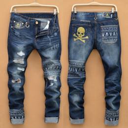 Wholesale Skull Jeans Men - Wholesale-Mens Ripped jeans male new Runway slim jeans denim Biker Slim jeans hiphop pants Washed Printed Skull blue jeans for men