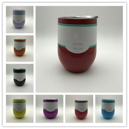 Wholesale Colored Glass Cups - 2017 HOTSALE IN STOCK!! 9oz Egg Cup Stemless Cups Double Layer Beer Mugs Stainless Steel Wine Glasses Bottles 9oz as Vacuum Insulated Cups
