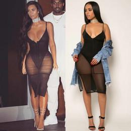 Wholesale polka dot fashion wear - Black Mesh Bandage Jumpsuit Womens Bodycon Bodysuit Sheer Patchwork Perspective Femme Night Club Wear Deep V neck Vest short Romper Bodysuit