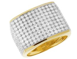 Wholesale Engagement Ring Diamond Genuine - 10K Yellow Gold Men's Pave Iced Genuine Diamond Wedding Pinky Ring Band 4CT 17MM