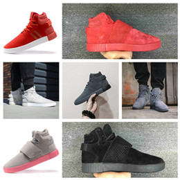Wholesale Purple Western Boots - New 750 Kanye West Boots Tubular Invader Strap Men's Sneakers Hight Top Sneakers Ankle Boots Fashion Mens Shoes