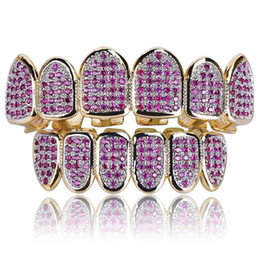 Wholesale Rhinestone Caps For Women - New Custom Fit Hip Hop Gold Teeth Grillz Caps Micro Pave Fuchsia Cubic Zirconia Top & Bottom Grills Set for Christmas Gift Women
