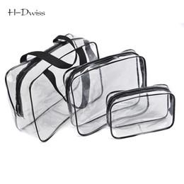 Wholesale Up Environmental - Wholesale- HDWISS 3pcs set Environmental Protection PVC Transparent Cosmetic Bag Women Travel Make up Toiletry Bags Makeup Organizer Case