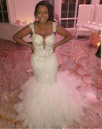 Grande merletto africano di cerimonia nuziale online-Abiti da sposa economici di grandi dimensioni abito da sposa senza spalline di grandi dimensioni abito da sposa senza spalline