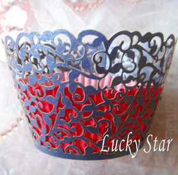 Wholesale Laser Cut Cup Cake Case - 12pcs lot free shipping Navy Blue little vine laser cut cupcake wrapper muffin paper cup cake case holder 4 wedding birthday party supply