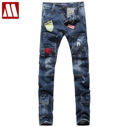 Wholesale New Design For Cotton Pants - Wholesale-New Arrival Man Jeans High Quality Denim Pants Cotton broken hole Brand Design Populat Jeans For Men Boy Big size W28-W40
