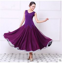 Wholesale Modern Dance Dress Costumes - 2017NEW modern dance dress women elegant Sleeveless waltz Tango Foxtrot quickstep costume competition clothing standard ballroom dance skirt