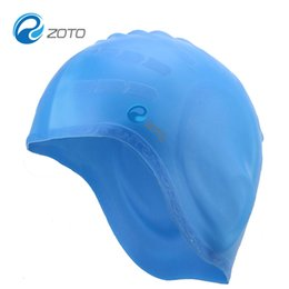 Wholesale Ear Protector Hats - Wholesale- Professional Waterproof Adult Unisex Silica Gel Ear Protection Swimming Cap Men Women Silicone Swim Cap Pool Hat Ear Protectors