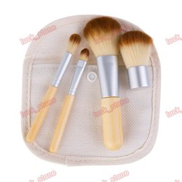 Wholesale Gunny Bags - bamboo brushes 4pcs in bag pack bamboo makeup brushes portable 13cm design put in Gunny bag