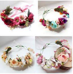Wholesale Tiara Wreath Headband - Bride Wreath garland Bridal artificial roses tiara Floral wedding decoration sweet girl beach photography photo accessories C1900