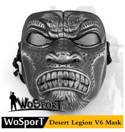 Wholesale Net Masks - wholesale WoSporT Desert Legion V6 Mask Outdoor CS Game Military Training Paintball Protective Steel Net Training Mask ,MEN Camouflage Color