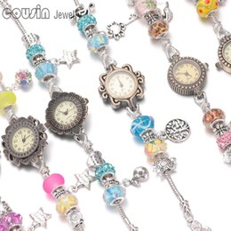 Wholesale Wholesalers For Vintage Clocks - New arrivals 12pcs lot wrist band Quartz Clock Beaded link chain vintage silver style Charm bracelet wrist watch For women Dress set 02