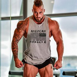 Wholesale Sexy Male Vests - Wholesale- 2016 Men Stringer Tank Top Gasp Brand Mens Bodybuilding Fitness Male Singlets T Shirts Brand Clothes Muscle Vest Sleeveless