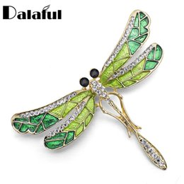 Wholesale Cute Unique Gifts - Wholesale- Unique Cute Dragonfly Brooch Pin Enamel Crystal Rhinestone Lovely Jewelry For Women Gift Brooches Z022