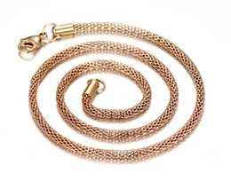 Wholesale Mesh Gold Necklace - Men Cool Mesh Snake Chain Necklace in Black Rose gold Stainless Steel Choker Collar Jewelry 18 inches NC-015