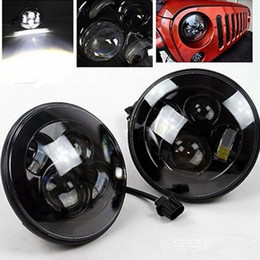 "Wholesale Round Led Headlights - For Jeep JK 7"" Round Headlight Led For Jeep Wrangler 97-15 Hummer Toyota Defender 7"" LED Harley Motorcycle Headlamp For Harley"