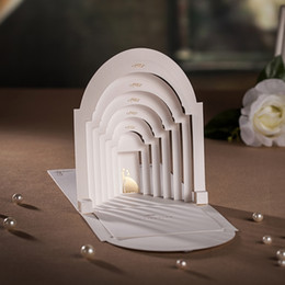 Wholesale Wedding Decorations Vintage - Wholesale-White&Red 3D Wedding Invitations Luxurious Vintage Palace Wedding Card with Envelope & Seal Laser Cut wedding decoration