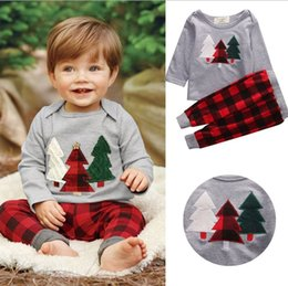 kids clothes trees 2018 - Wholesale Boys Girls Childrens Xmas Clothing Sets Cotton Christmas Tree T-shirts Harem Pants Set Spring Autumn Tshirts Kids Santa Clothes