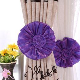 Wholesale Voile Panels - Wholesale- 2pcs Curtain Clip Decor living Room Bedroom Rose Flower Tie Backs Home Curtain Tieback Holder Voile Drape Panel Decorative