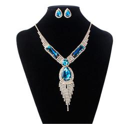 Wholesale Vintage Stud Earrings Wedding - Big Crystal Jewelry Set Women Tassel Necklace & stud Earrings Vintage Party Earring And Necklace Jewelry Sets