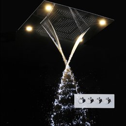 Wholesale Led Bath Sets - 600*800MM Large Rain Shower Set Waterfall Remote Control LED Recessed Ceiling Mount Multi-function Shower Head Bath & Shower Faucets