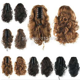 Wholesale Hair Claws Gripper - Wholesale-Free Shipping 12Inch Claw Clip Ponytails Womens Synthetic Cute Beautiful Short Curly Gripper Ponytail Hair Extension 4 Colors