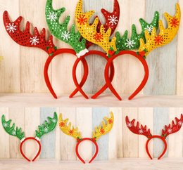 Wholesale Plastic Reindeers - 2016 Christmas Day Cute Antlers deer Headband Adult Snowflake Gift Hair Hoop reindeer Children Headdress Party Accessories