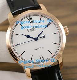 Wholesale Transparent Dial Watches - Top Quality Mens Automatic Cal.39-59 Rose Gold Watch White Dial Senator Watches Men Calf Leather Glashutte Transparent Sapphire Wristwatches