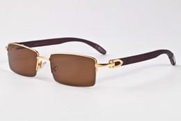 Wholesale Wood Eye Frames - bamboo wood sunglasses for women luxury polairzed buffalo horn glasses brand sunglasses frame black brown clear lenses driving sun glasses