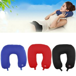 Wholesale Car Battery Water - Wholesale- High Quality U Shaped Neck Pillow Rest Neck Massage Airplane Car Travel Pillow Bedding Microbead Battery Operated Vibrating