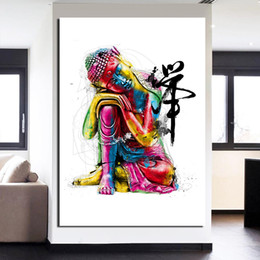 Wholesale Art Framed Mirrored Frames - 1 Pieces Watercolor Chan Meditation Buddha Wall Art Canvas Pictures For Living Room Still Life Home Decor Canvas Oil Paintings