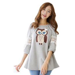 Wholesale Shirts Owl Women - 2017 Hot Selling Women's T-Shirt European Fashion Style Owl Printing O-Neck Lace Stitching Casual Tee Tops Loose T Shirts ST017
