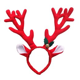 Wholesale Xmas Head Decoration - Christmas Decoration Deer Bell Large Antlers Christmas Head Hoop Buckle Xmas Party Suppliers Holiday Gifts 0708097