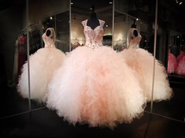 Wholesale Long Peach Skirt - Blush Peach Backless Ball Gown Prom Party Dresses 2017 Rhinestone Crystals Sheer V-neck Ruffles Skirt Long Princess Quinceanera Gowns