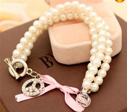 Nouveau en 3 couches De Luxe Perle Boule Bracelets Coréenne dame douce ornements bijoux cristal Perles Strands Bracelets Livraison gratuite ? partir de fabricateur