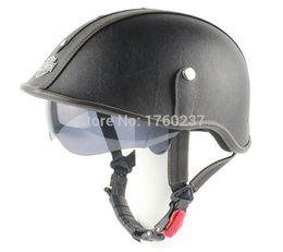 Wholesale Scooter Helmet Visor - New Retro Leather Motorcycle Helmet Scooter Hlaf Face Helmet With Inner Sun Visor Goggles Black For Harley Rider
