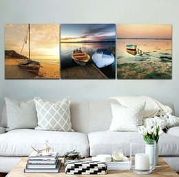 Wholesale Boat Mirror - small fishing boat by the sea Frameless Paintings