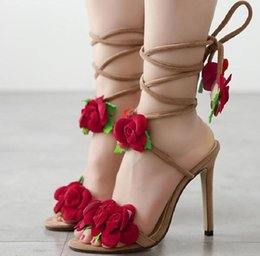 Wholesale Lace Flower Sandals - Large Size Women's Sandals 2017 European Summer Rose Flower Cross Tied high heels Sandals Women Open Toe Shoes For Ladies Apricot NXX43