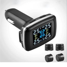Wholesale Tpms External Sensor - smart car cigarette lighter Tire Pressure Monitor System Car TPMS with 4 pcs External Sensors high pressure high temperature warnings TPMS