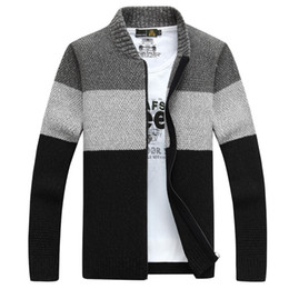 Wholesale Cashmere Long Coat Men - New Hot Sale Wool V-Neck Full Zip Cardigan Mens Jumpers Brand Christmas Men's Clothing Winter Thick Coat Cashmere Sweater Men Brand Knitted