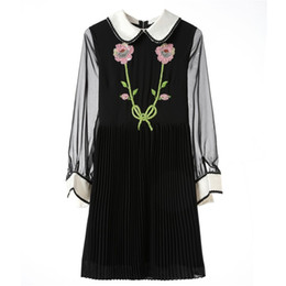 Wholesale Designer Style Long Sleeve Dresses - Runway Style Women Autumn Dress 2017 Fall Fashion Brand Designer Tiger Flowers Luxury Sequined Embroidery Collar Long Mesh Sleeve Dress